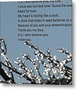 Words Of Love With Glittering Tree Stems Metal Print