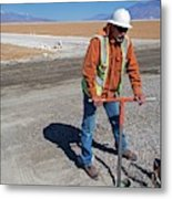 Worker Digging A Bore Hole Metal Print