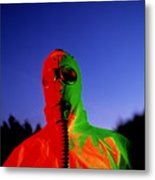 Worker In A Chemical Spillage Suit With A Gas Mask Metal Print