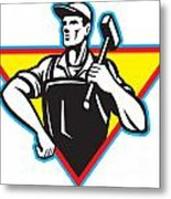 Worker With Hammer Retro Metal Print by Aloysius Patrimonio