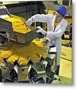 Worker With Pasta Packing Machine Metal Print by Science Photo Library