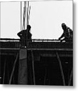 Workers Preparing Iron Girders As Part Of Laying The Roof Metal Print