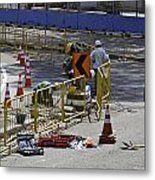 Workers Working On The Road Surface Preparing It For The Formula One Race Metal Print