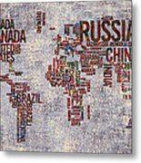 World Map Typography Artwork Metal Print