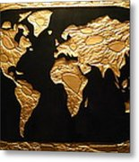 World in Gold - World Map Metal Print