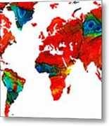 World Map 12 - Colorful Red Map By Sharon Cummings Metal Print