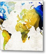 World Map 16 - Yellow And Blue Art By Sharon Cummings Metal Print by Sharon Cummings