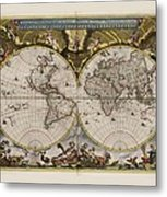 World Map 1664 Ad With Small Matching Border Metal Print