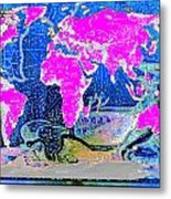 World Map And Aphrodite Metal Print