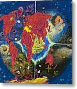 World Map And Barack Obama Stars Metal Print by Augusta Stylianou