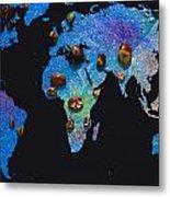 World Map And Sagittarius Constellation Metal Print