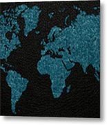 World Map Blue Vintage Fabric On Dark Leather Metal Print