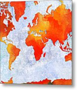 World Map - Citrus Passion - Abstract - Digital Painting 2 Metal Print