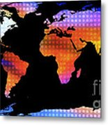 World Map Colourful Dots  Metal Print
