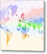 World Map Crumpled Multi-coloured Metal Print