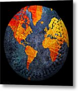 World Map - Elegance Of The Sun Baseball Square Metal Print by Andee Design