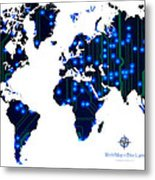 World Map In Blue Lights Metal Print