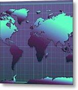 World Map In Dark Green Metal Print