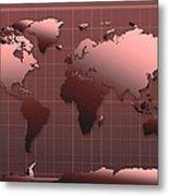 World Map In Dark Red Metal Print