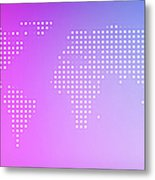 World Map In Dots Against An Abstract Metal Print