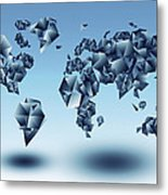 World Map In Geometic Light Blue  Metal Print