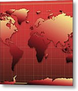 World Map In Red Metal Print