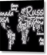World Map In Text Neon Light Metal Print