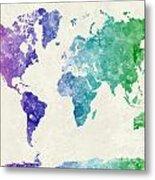 World Map In Watercolor Multicolored Metal Print