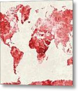 World Map In Watercolor Red Metal Print
