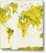 World Map In Watercolor Yellow Metal Print