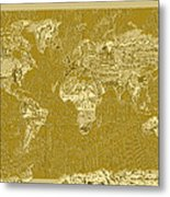 World Map Landmark Collage 10 Metal Print