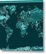 World Map Landmark Collage 4 Metal Print