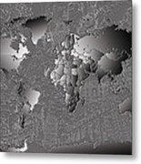 World Map Landmark Collage 6 Metal Print