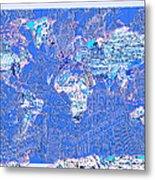 World Map Landmark Collage 8 Metal Print
