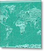 World Map Landmark Collage Green Metal Print