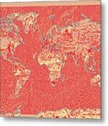 World Map Landmark Collage Red Metal Print