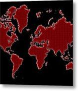 World Map Red Grid Metal Print