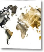 World Map Sandy World Metal Print