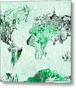 World Map Watercolor 4 Metal Print