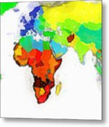 World Map Wathercolor Metal Print