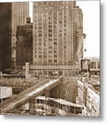 World Trade Center Reconstruction Vintage Metal Print