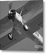 Stearman Trainer Bi Plane Black And White Metal Print