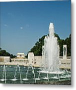 World War II Monument With Lincoln Monument Metal Print