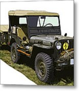 World War Two Army Jeep With Trailer  Metal Print