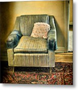 Worn Chair By Doorway Metal Print
