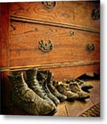 Worn Family Shoes Linded Up Metal Print