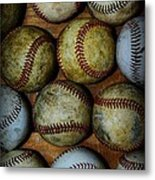 Worn Out Baseballs Metal Print