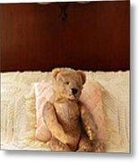 Worn Teddy Bear On Bed Metal Print