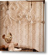 Worn Teddy Bear On Brass Bed Metal Print