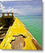 Worn Yellow Fishing Boat Of Aruba Metal Print